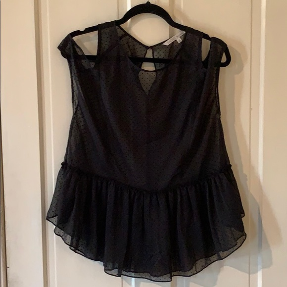RACHEL Rachel Roy Tops - Black sheer shoulder cut out tank